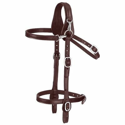 Tough 1 Leather Mule Adjustable Headstall With Snap Crown And Brow Dark Oil