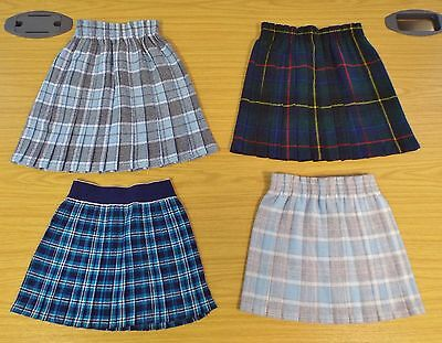 4 x VINTAGE 1980's UNWORN GIRLS TARTAN PATTERNED SKIRTS ASSORTED SIZES & COLOURS