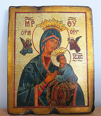 Large Handmade & Painted Icon `Mother Protecting Baby Jesus` 35x28cm