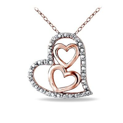 Rose Gold Tone over Sterling Silver 1/10ct Diamond Triple Heart Necklace