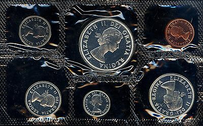 1964 Canada Complete Prooflike Pl 6 Coin Set Charlottetown Silver $1 W/env & Coa