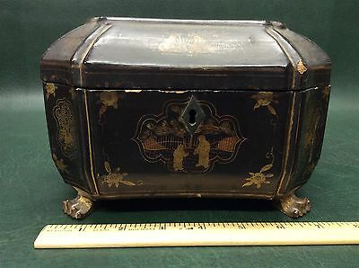 Antique Chinese Export Lacquer Footed Tea Caddy Box Circa 1820 ~ As Is