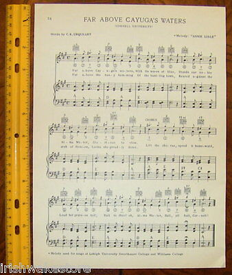 "CORNELL UNIVERSITY Vintage Song Sheet c1938 ""Far Above Cayuga's Waters"" Original"