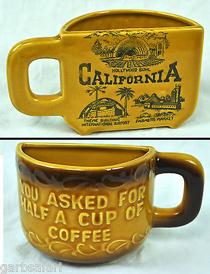 California You Asked For Half A Cup Of Coffee Vtg Split Mug LAX Hollywood Bowl