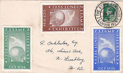 GB : LONDON STAMP EXHIBITION, 3 x COLOUR LABELS ON EDWARD VIII COVER (1936)