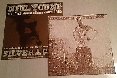 NEIL YOUNG Silver & Gold (2) Original 2000 Promo Poster Photo Flats