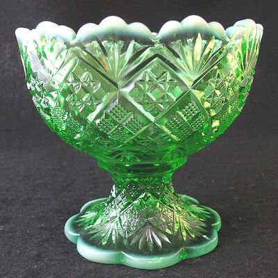 L E Smith Green Glass Moon and Stars Open Candy Dish Unmarked