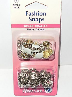 Fashion Snaps/fasteners  Refill Pack - 20 Sets- White Solid Top  Hemline