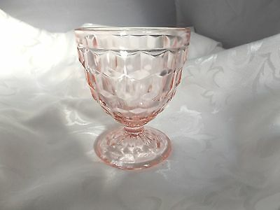 Cube Cubist PINK Depression Glass Footed Sherbet Jeannette Glass 1929-33