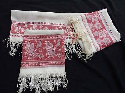 3 Elegant Antique Turkey Red Fringed Towels~Linen Damask