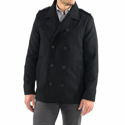 Alpine Swiss Jake Mens Pea Coat Wool Blend Double Breasted Dress Jacket Peacoat