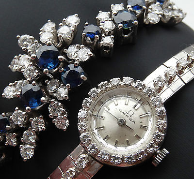 6Ct Diamonds 18K White Gold Vintage Ladies Omega & Bracelet 2.5Ct Sapphires