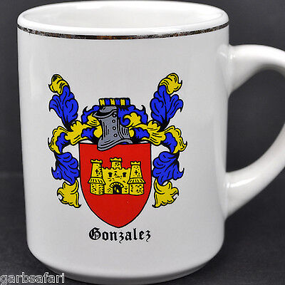 Gonzalez Family Crest Coat of Arms Vtg Coffee Mug Tea Cup Americana Art China US
