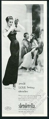 1957 Slenderella lingerie woman in gown photo vintage print ad