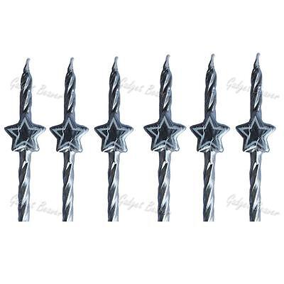 Birthday Cake Candles, Novelty Stars Candle & Holders Silver