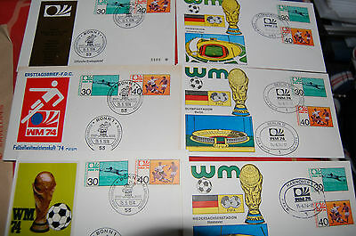 1974 World Cup First Day Covers X 6