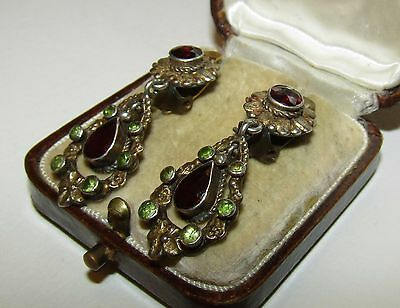 Superb, Antique, Austro-Hungarian Silver/gold Earrings With Garnet/peridot
