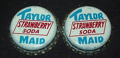 Lot of 2 Vintage 1960's Taylor Maid Strawberry Unused Soda Pop Bottle Caps Cork
