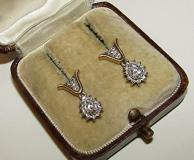 Brilliant, Art Deco, 10 Ct Gold Earrings With Fine Natural Diamonds
