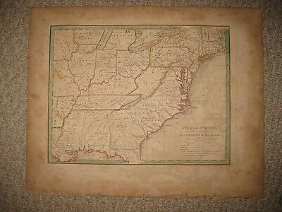 Antique 1835 United States Bradford Map Border State Territory Michigan Indian