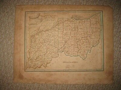 Antique 1835 Indiana Ohio Bradford Map Border State Unfinished Areas Columbus Nr
