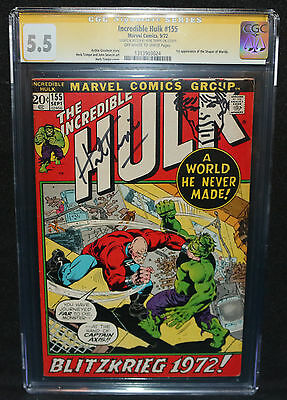 Incredible Hulk #155 - Sketch by Herb Trimpe - CGC Signature Series 5.5 - 1972