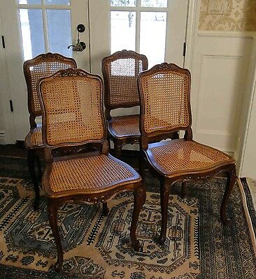 4 Antique French Louis XV Dining Chairs Cain & Carved Wood Classic Cabriole legs