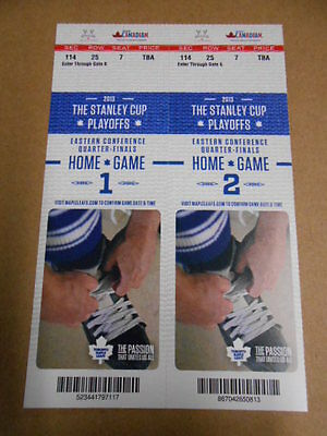 Toronto Maple Leafs hockey playoff tickets home game 1 and 2 for 2013