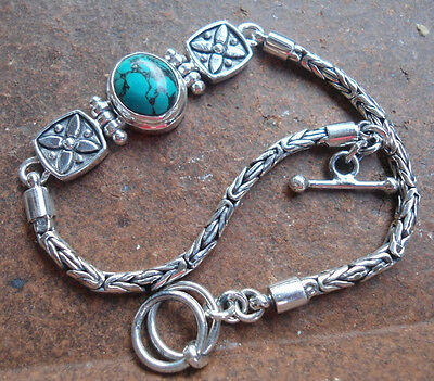 925 Sterling Silver-LU81-Balinese Handcrafted Byzantine Bracelet TURQUOISE 8Inch