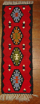 Indian Navajo Style Southwestern Hand Woven Rug Table Wall Hanging Red 27 X 8