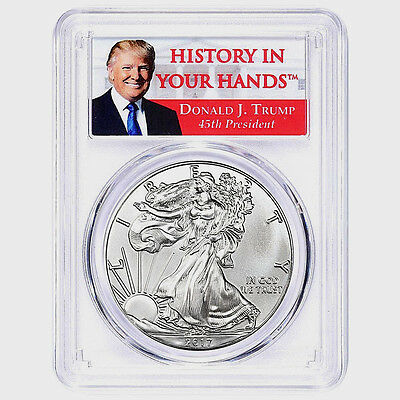 2017 Silver Eagle Dollar PCGS MS70 Coin First Strike Trump Label ASE ON HAND