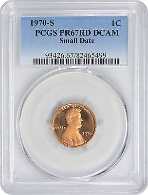 1970 S Lincoln Small Date Cent PR67RD DCAM PCGS Proof 67 Red Deep Cameo