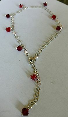 925 silver & red crystals anklet
