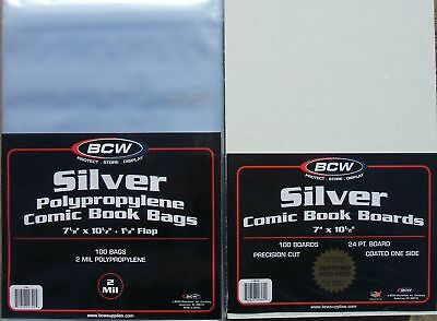 (50) Bcw Silver-Age Comic Book Size Bags & Backing Boards - Priority Shipping