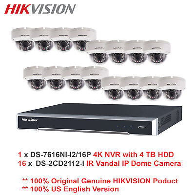 Hikvision USA -16CH 4K Ultra HD NVR/4TB HDD+16 x 1.3MP Outdoor IR IP Dome/PoE