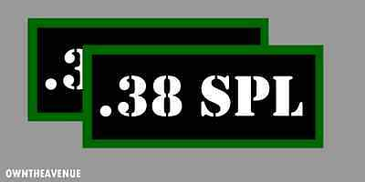 ".38 SPL Ammo Can Labels for Ammunition Case 3.5"" x 1.50"" stickers decals(2PACK)"