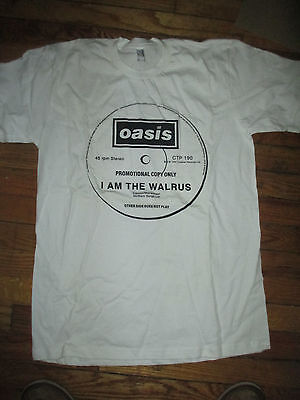 "Brand New OASIS I Am The Walrus 12"" UK Promo Label T Shirt Small W/COA"