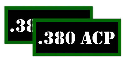 ".380 ACP Ammo Can Labels for Ammunition Case 3.5"" x 1.50"" stickers decals 2PACK"