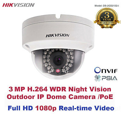 3MegaPixel HIKVISION Full HD 1080p Outdoor WDR Night Vision IP Dome Camera/PoE