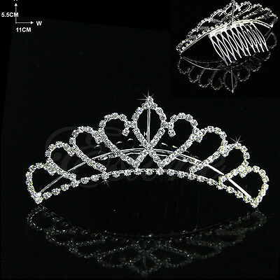 Small Crystal Rhinestone Bridal Tiara Crown Hair Comb Wedding Accessory