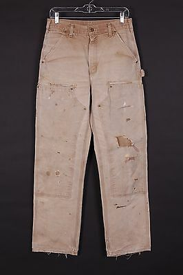 Vtg Carhartt Double Front Duck Work Pants Disressed Usa Mens 29-33