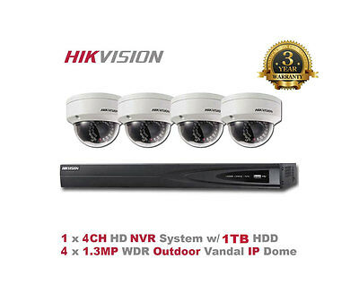 NEW HIKVISION USA 4CH NVR Package - 4CH NVR/1TB + 4 x 1.3MP Outdoor IR IP Dome