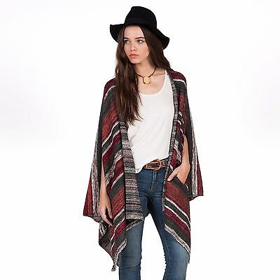 aaad215d781 2016 NWOT WOMENS VOLCOM HEAD HONCHO PONCHO  69 S ginger multi striped cotton