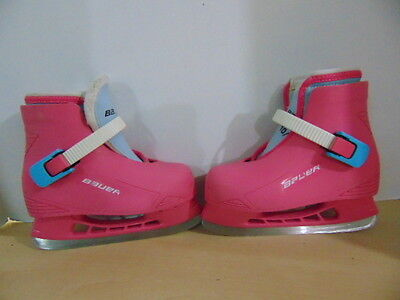 Ice Skates Childrens Size 10-11 Bauer Pink Molded Plastic With Liner