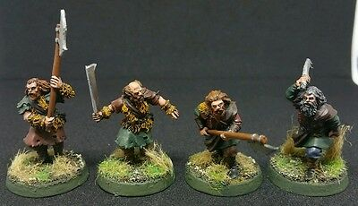 4 x Wildmen of Dunland Pro painted metal models LOTR The Hobbit Scarce OOP