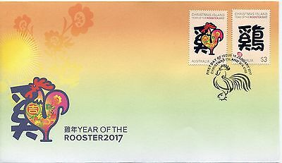 2017 Christmas Island Year of The Rooster (Gummed Stamps) FDC - Christmas Is PMK