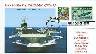 USS HARRY S.TRUMAN CVN-75 Aircraft Carrier Color Bow Photo First Day of Issue