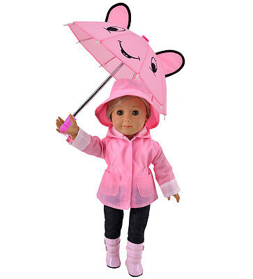 5pc Rain Doll Clothes Jacket Umbrella Boots Hat Pants for 18 inch American Girl