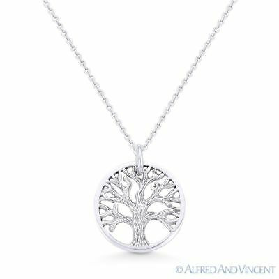 Solid 925 Sterling Silver Oxidized Filigree Tree Of Life Circle Pendant 25mm
