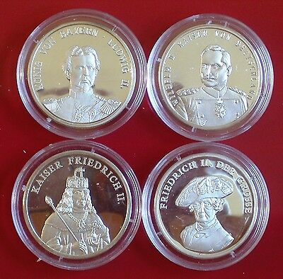 4 nice SILVER Coins (999) (1 ounce!!) with German Emperors and Kings (PROOF)